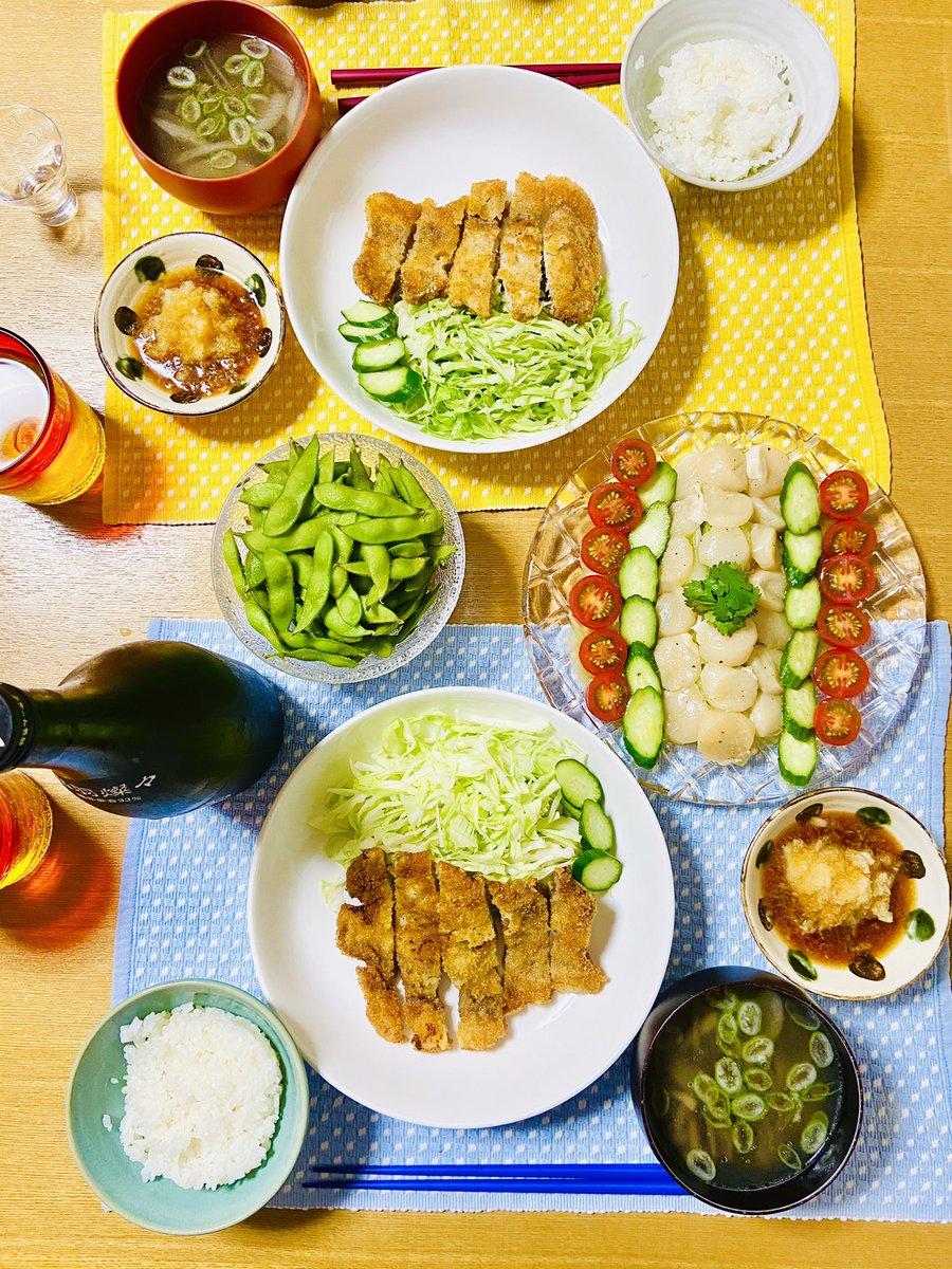 test ツイッターメディア - ・トンカツ ・ほたての和風カルパッチョ ・かまくら農園の枝豆 ・きのこと生姜のスープ  日本酒はくどき上手純大。食卓が華やかになるね!トンカツもおろしポン酢で食べることに。  ペアリングはリプで!  #おうちごはん #Twitter家庭料理部 #晩酌 #日本酒 #くどき上手 https://t.co/z48Ao8pdVO