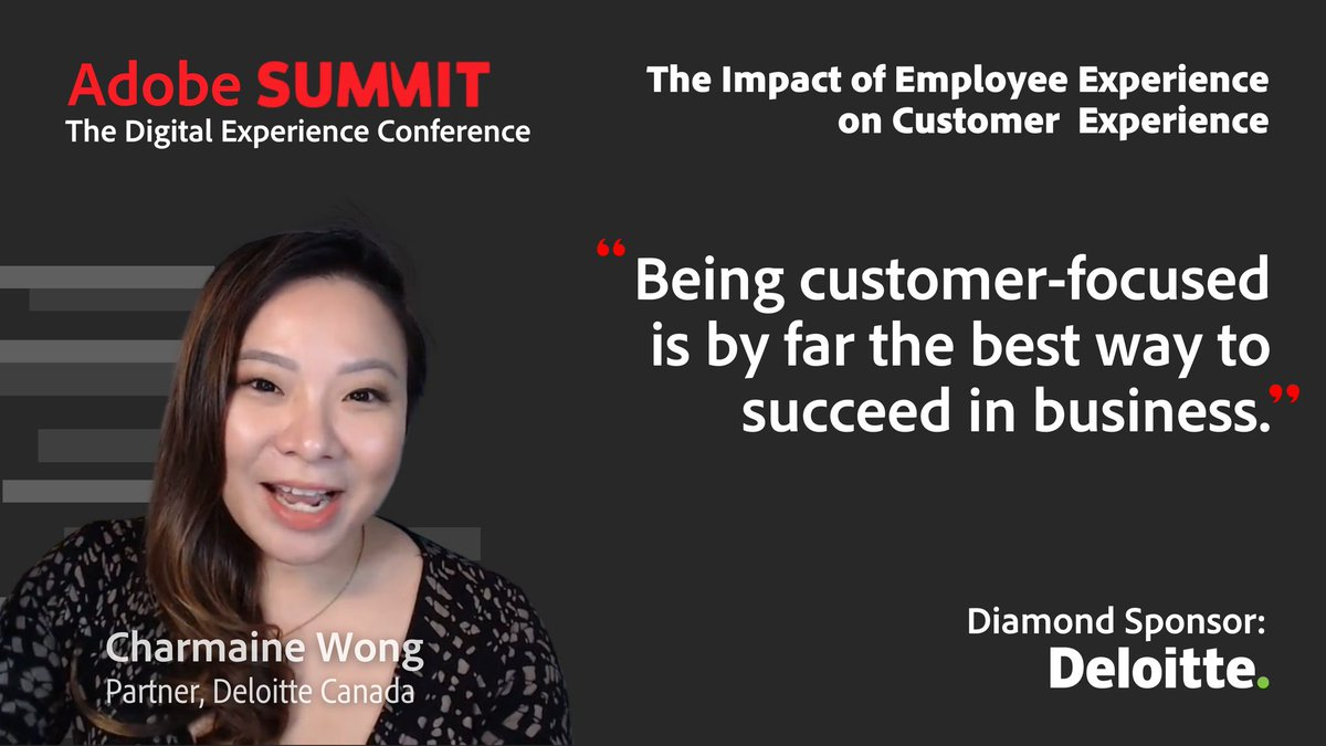 AdobePartner: 'Being customer-focused is by far the best way to succeed in business.' Charmaine Wong, Deloitte #AdobeSummit 2021 https://t.co/IJX4IcGxrj