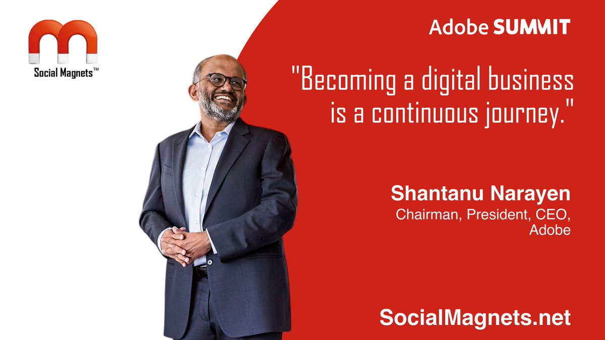 Ross_Quintana: 'Becoming a digital business is a continuous journey.' Shantanu Narayen, #AdobeSummit https://t.co/Y75i3kFLb4