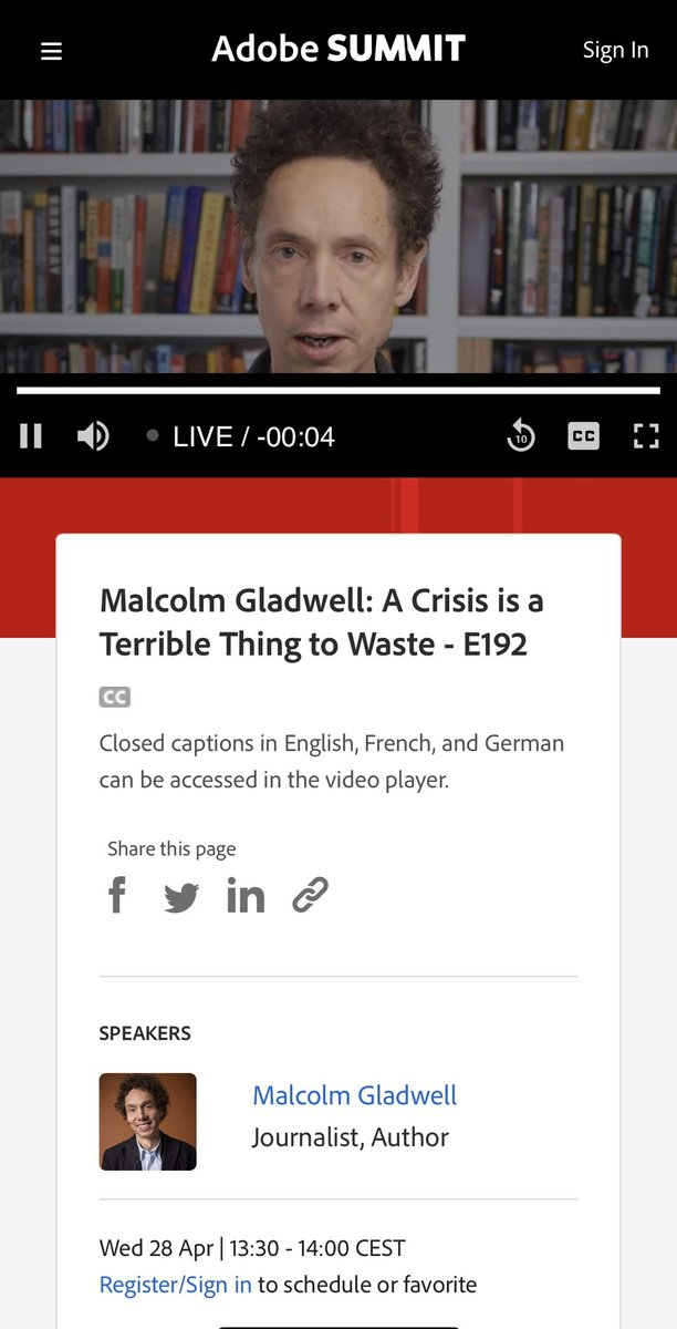 nickweisser: Now streaming at #AdobeSummit Malcolm Gladwell: A Crisis is a Terrible Thing to Waste #BlackLivesMatter https://t.co/iqkJ4ONDuw