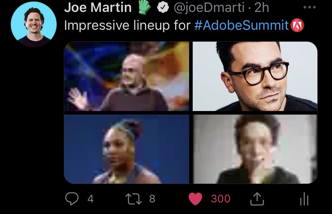 joeDmarti: I can't get over how @danjlevy pic is flawless and the others blurry in the preview of this post. nn#AdobeSummit https://t.co/l33Lw9l7ah