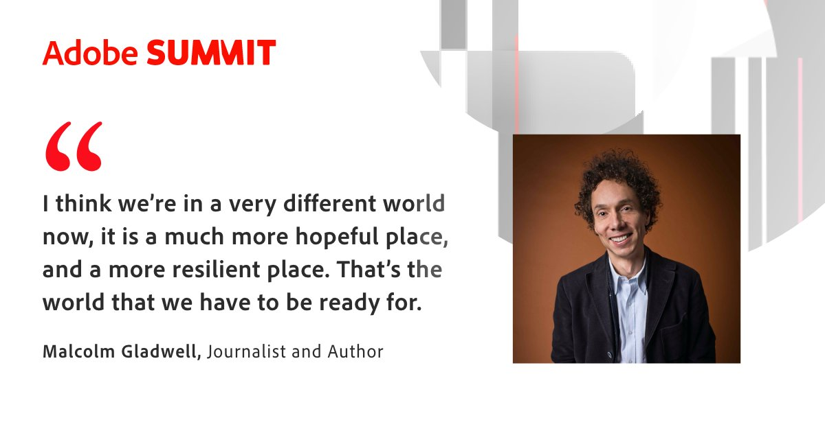 Adobe: A world we have to look forward to. Optimism brought to you by Malcom @Gladwell's #AdobeSummit Innovation Keynote. https://t.co/5WOQTlGDmZ