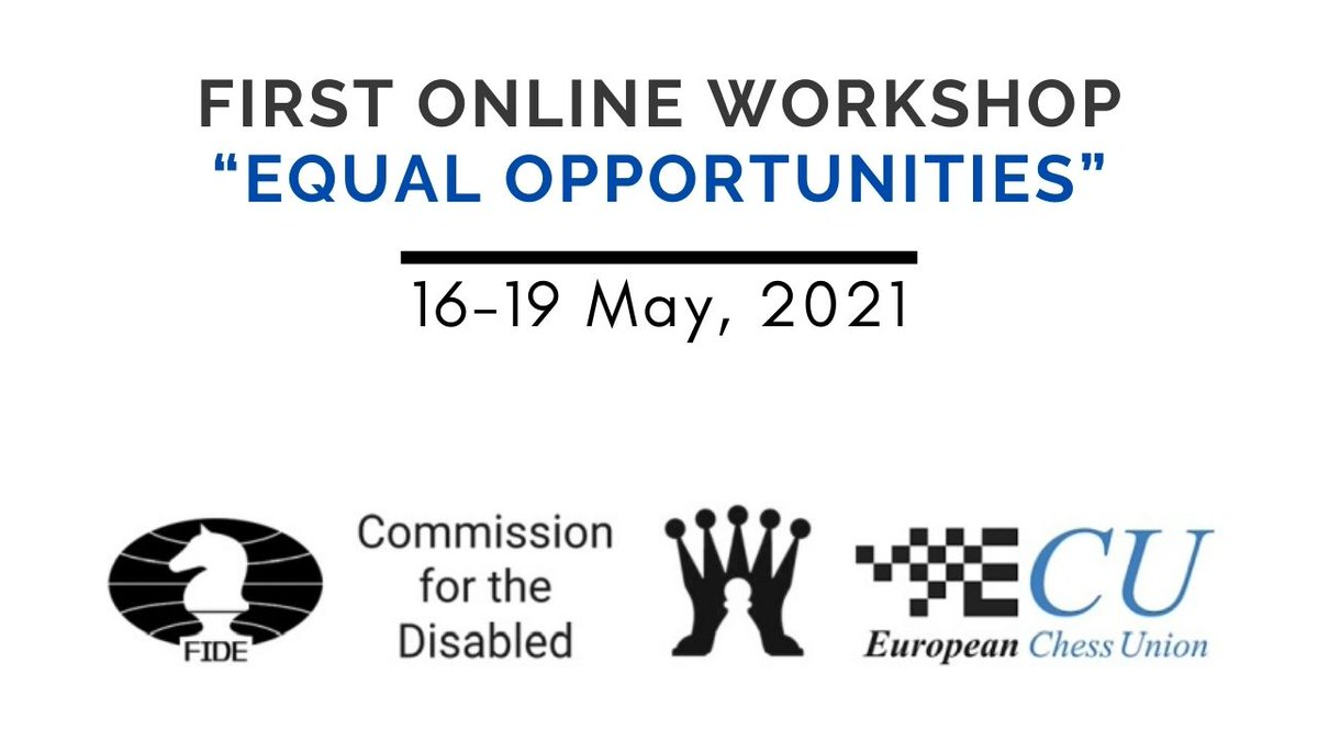 "test Twitter Media - The 1st Online Workshop ""Equal Opportunities"" will be held 16-19 May.  We will demystify the concept of disability in chess and offer basic skills for interacting with and accommodating people with disabilities acting as Organizer, Trainer and Arbiter.  🔎 https://t.co/ZqKRbLkgnB https://t.co/V70lOp0rbz"