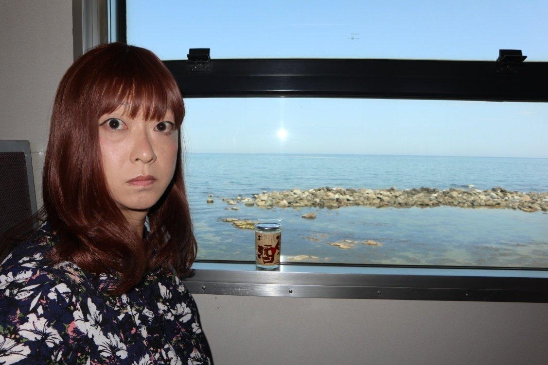 test ツイッターメディア - 女装たび(氷見線) 氷見線といえば海岸線の間際を列車が走り、その背景には立山連峰がそびえ…というイメージですが、実際に乗車してみると海岸線の間際を走る区間は短く、立山連峰はどこにあるかわからない…という状況。でも富山湾の海が間近に見えてキレイです(カップ酒も美味しく頂けます…)。 https://t.co/0ZVHefDyO5