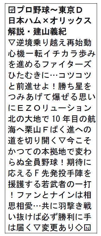 test ツイッターメディア - きょう午後6時15分~は Bravo!ファイターズ『#日本ハムVS #オリックス』逆境を乗り越え再始動した日本ハムをステイホームで応援しよう♪ #タテ読み #HBC https://t.co/jlycTU337y