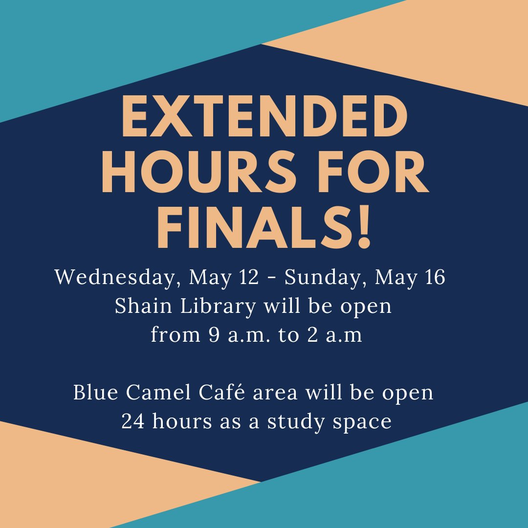 test Twitter Media - Library hours are hereby extended for finals! #ShainLibrary https://t.co/RgqrMJqqeX https://t.co/luZjhZ27aq