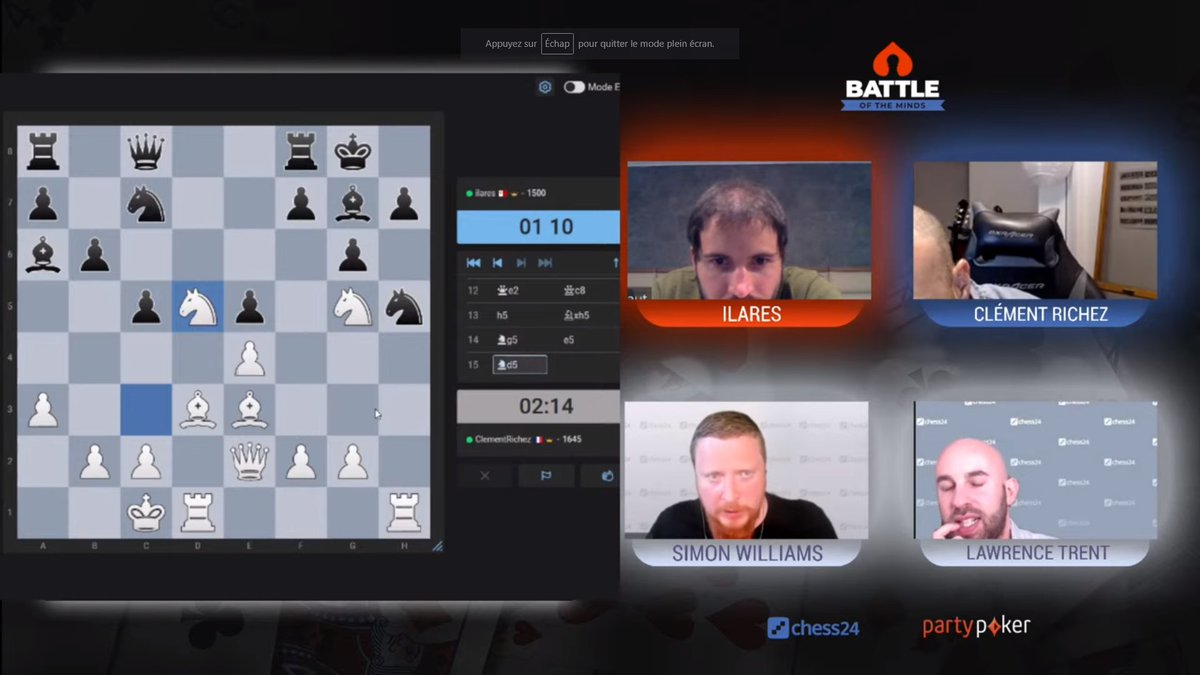 """test Twitter Media - Lawrence: """"I've played poker with Magnus. This will not surprise you: he could have been an astonishing poker player had he put some effort into it!""""  In the meantime, poker pros Clément and ilares show they can play chess very decently!  📺https://t.co/djchGGpSR6 https://t.co/4hwvFnkLDX"""
