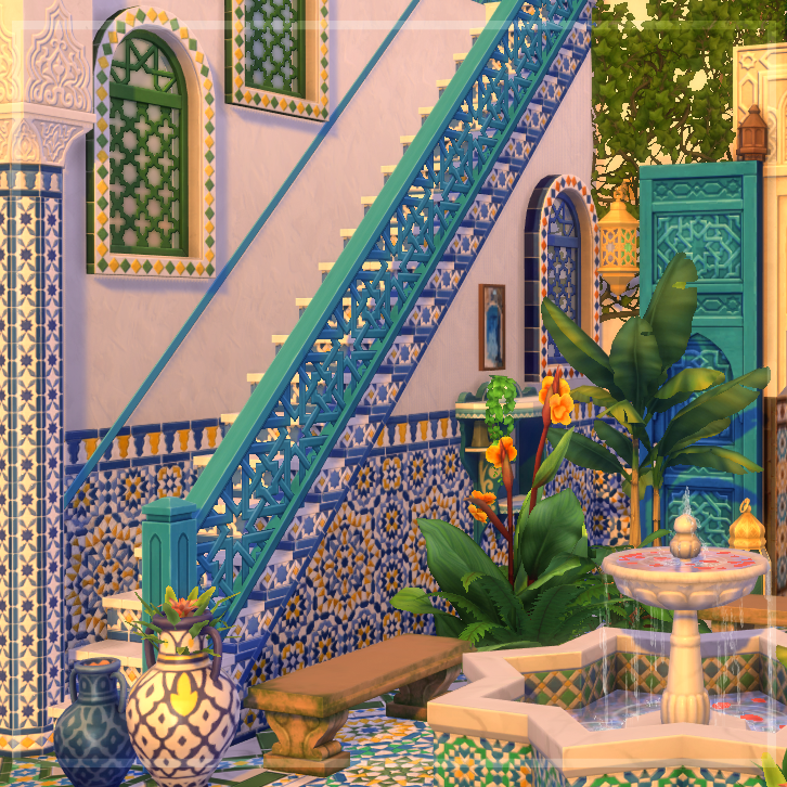 Moroccans represent! Thank you @TheSims for including my culture in this awesome game!  Welcome to Riad Casablanca #courtyardoasiskit #ShowUsYourBuilds https://t.co/glowEunD1D
