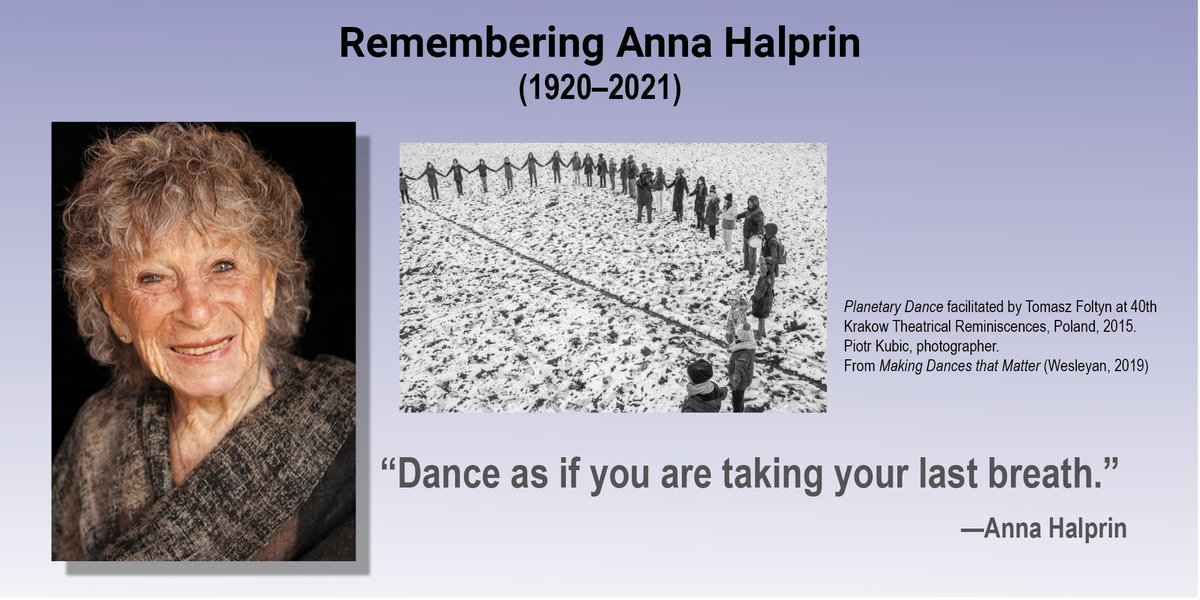 test Twitter Media - Remembering Anna Halprin, who passed away at her home on May 24, at age 100. Halprin made great strides in the democratization of dance. #danceforall #powerofdance #annahalprin Read more https://t.co/v8aFEMj32b https://t.co/XiEzmTO4EF