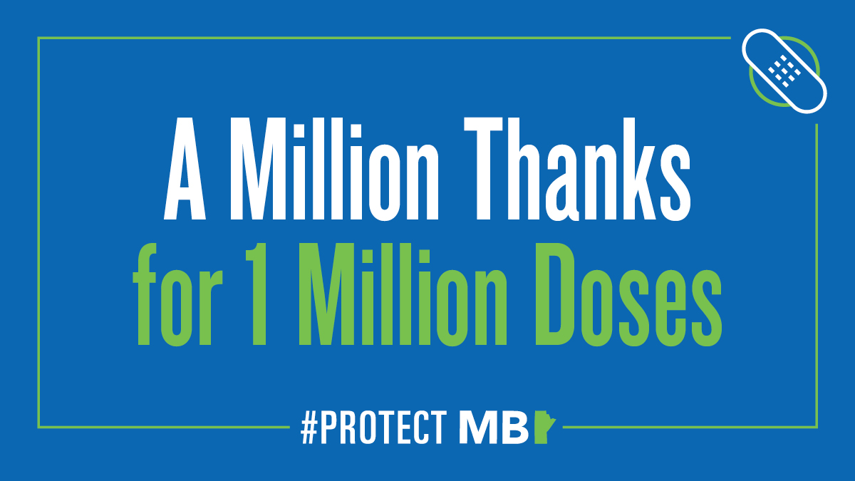 test Twitter Media - Manitoba has hit a major milestone in the #COVID19MB immunization campaign, as more than one million doses have now been administered! Thank you for doing your part to #ProtectMB. Share your A Million Thanks for 1 Million Doses message at https://t.co/pHEcTDO2SD. https://t.co/4tFGI4v1Ms