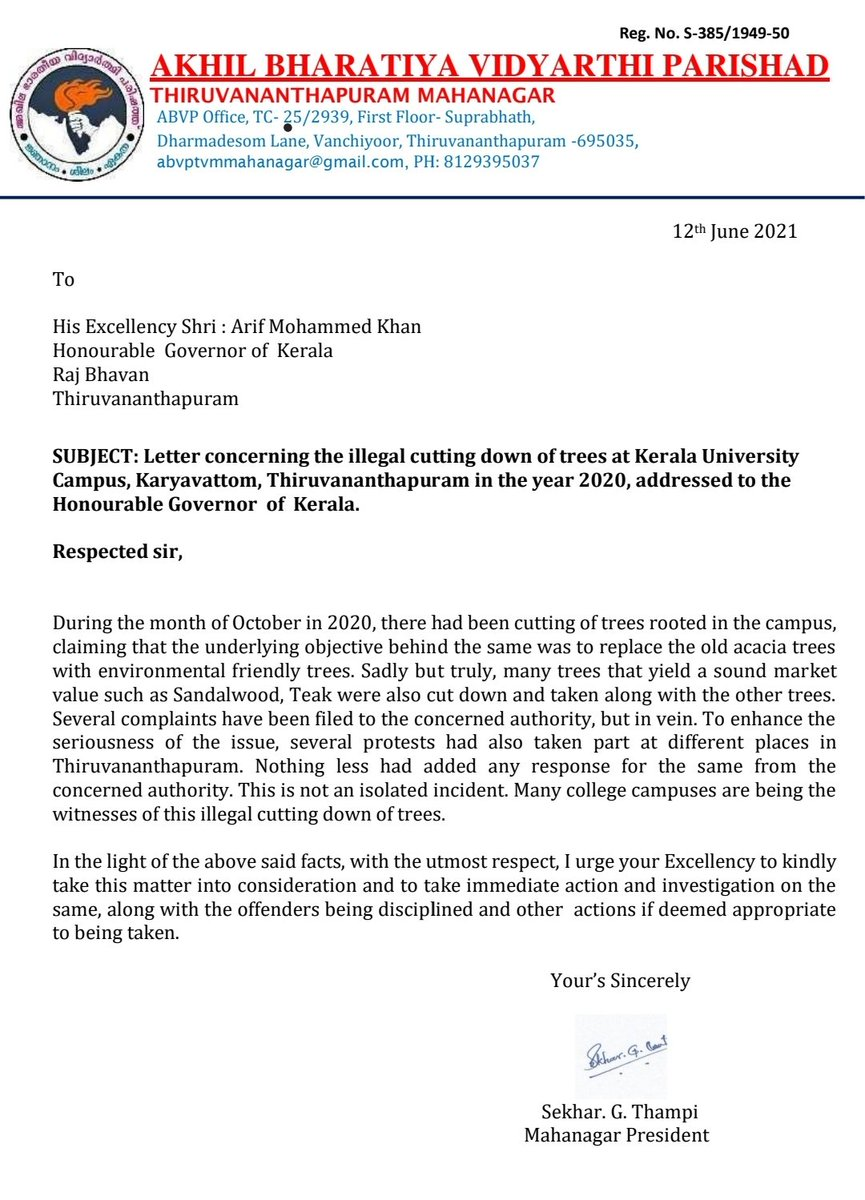 test Twitter Media - ABVP filed complaint before The Honourable @KeralaGovernor claiming enquiry on the illegal cutting down of trees like sandalwood, teak etc at Kerala University Karyavattom Campus. @KeralaABVP @ABVPVoice  @sekhargovind https://t.co/JRt8gRMwS1
