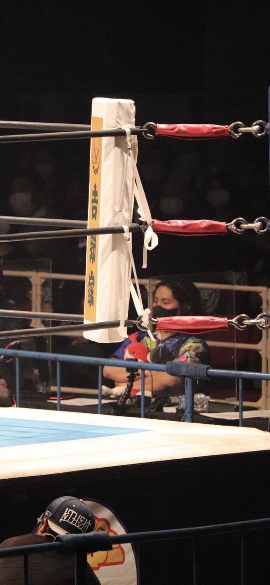 test ツイッターメディア - 2021.6.7 大阪城ホール  高橋ヒロム選手  前説から解説者席へ セミまでダリルちゃん、ナオルちゃん抱っこ メインだけ前でお座りしてました  ピントが甘い 完璧に趣味写真  #njdominion  #njpw  #高橋ヒロム https://t.co/Qk5B71UaVY