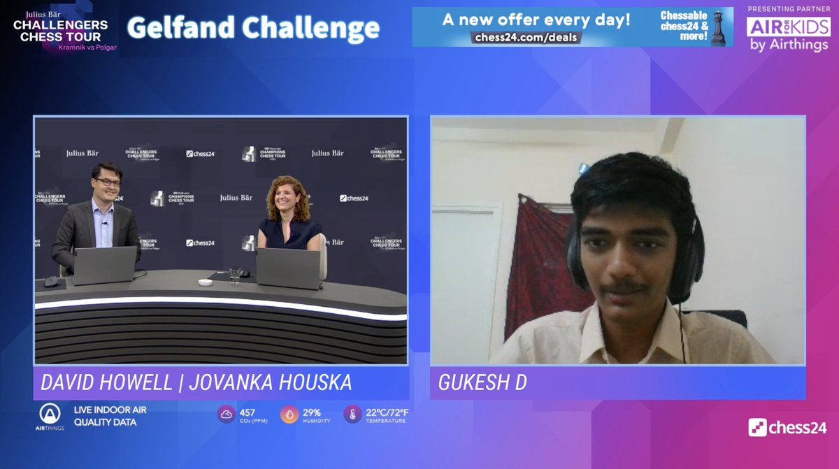 """test Twitter Media - Gukesh: """"It's just a great honour to play in the Champions Chess Tour. I haven't thought about it and I don't have many expectations. I just want to enjoy playing the top players and learn something from them!""""  #GelfandChallenge https://t.co/QIfc3mOGXX"""