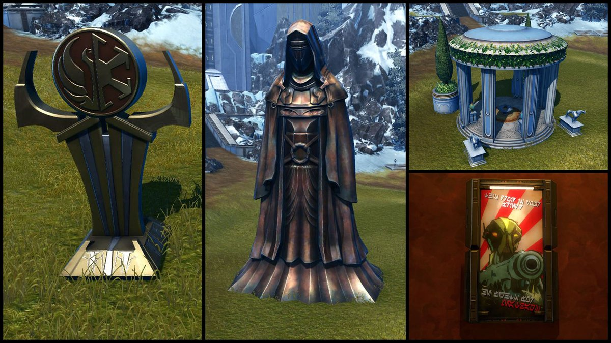 test Twitter Media - Check out the Stronghold decorations that can be purchased from our Galactic Seasons vendor, Jaleit Nall! You can get the Galactic Alliance Statue Replica, Grand Statue of Revan Replica, Makeb Gazebo Replica, and Propaganda: Fight for the Meatbags Replica. https://t.co/GcFUsMCB9p