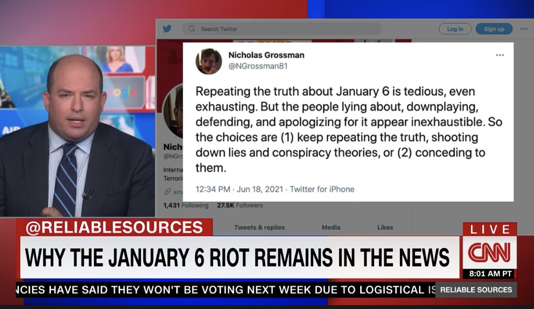 Capitol riot denialism is here. It feels inevitable. And exhausting. That's a goal of information warfare: overwhelm & exhaust the truth-tellers. But as @NGrossman81, @brianstelter & many of us urge, there's no option but to repeat the truth. As relentlessly as the propagandists. https://t.co/DoQ4dWJB9H