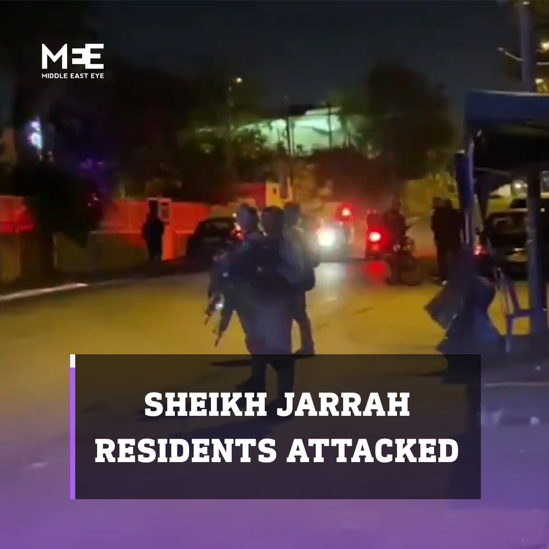 Israeli police trucks sprayed sewage water at residents in Sheikh Jarrah on Saturday night, following attacks by Israeli settlers on the neighbourhood's Palestinian residents. https://t.co/smuO5V7olH