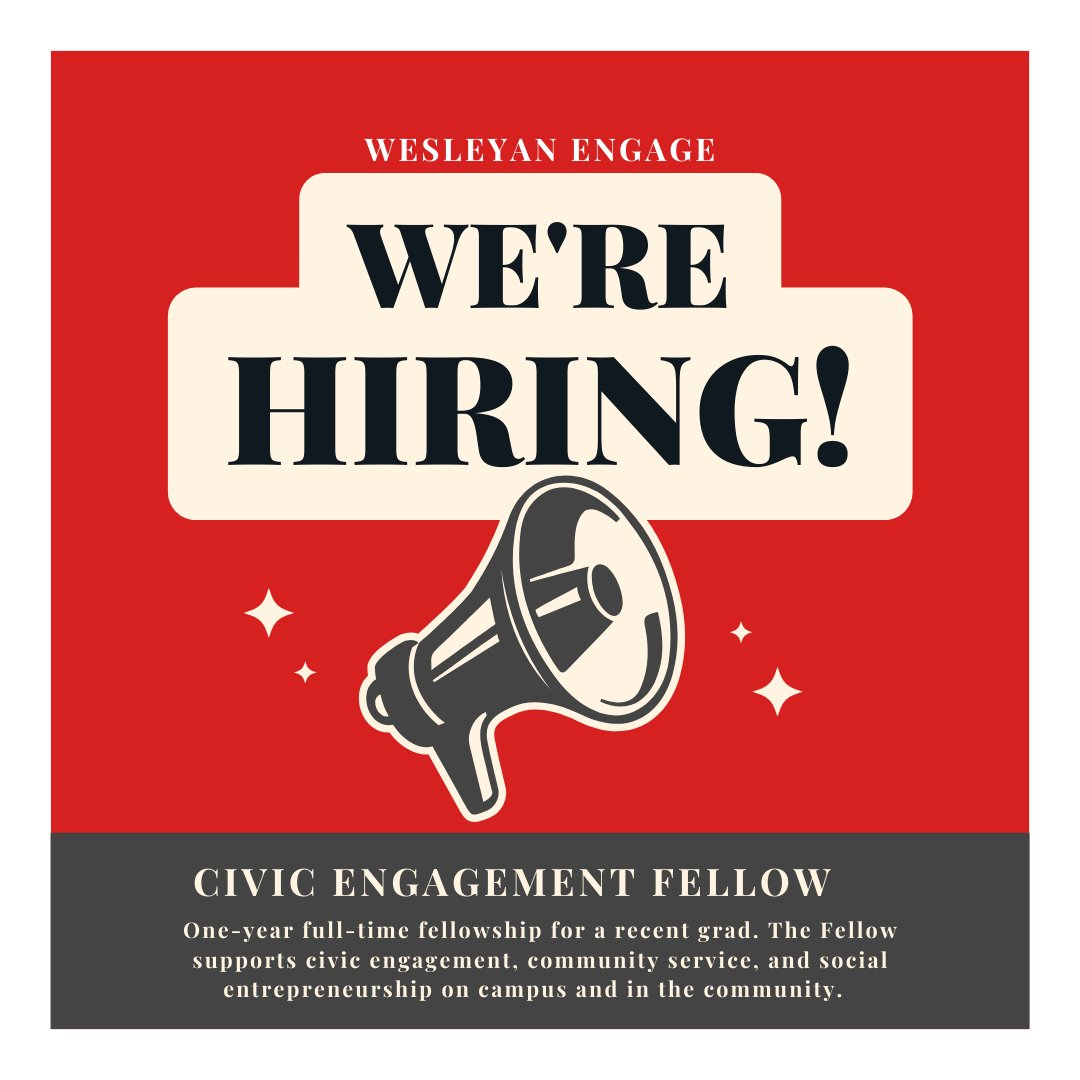 test Twitter Media - Now hiring a Civic Engagement Fellow! We seek a recent @wesleyan_u grad interested in community building, communications, #SocEnt, and/or public life.  Apply by 7/16: https://t.co/5nhU2E09cg @wes_alumni https://t.co/p6una8ZaDQ