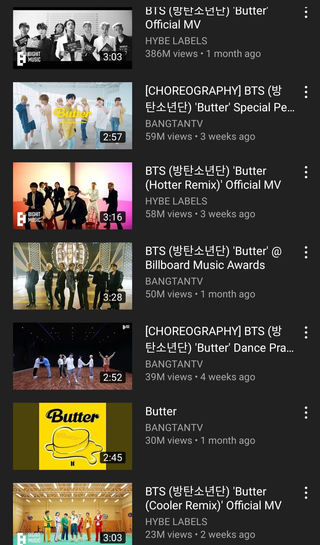 Butter official streams on YouTube:  Total views — 707M https://t.co/SWiV1e1kQF