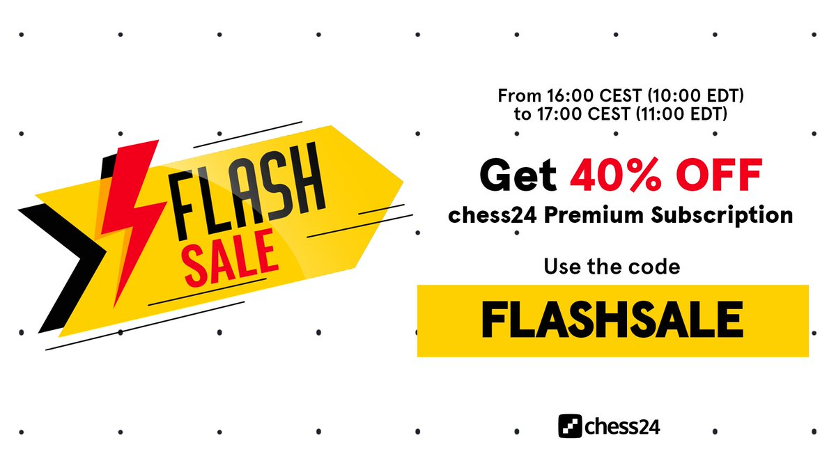test Twitter Media - #FlashSale time! Get 40% OFF chess24 Premium if you act now.   ➡️ https://t.co/7jIdp7gK3m / Code: FLASHSALE https://t.co/kvvcpMZ5mz