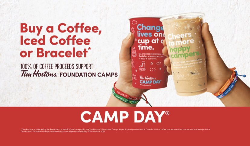 test Twitter Media - Happy #TimsCampDay! Remember to buy a coffee, iced coffee, or bracelet today. 100% of the proceeds support year-round programs for kids. #TimsCampDay https://t.co/VfBNbDjXHx