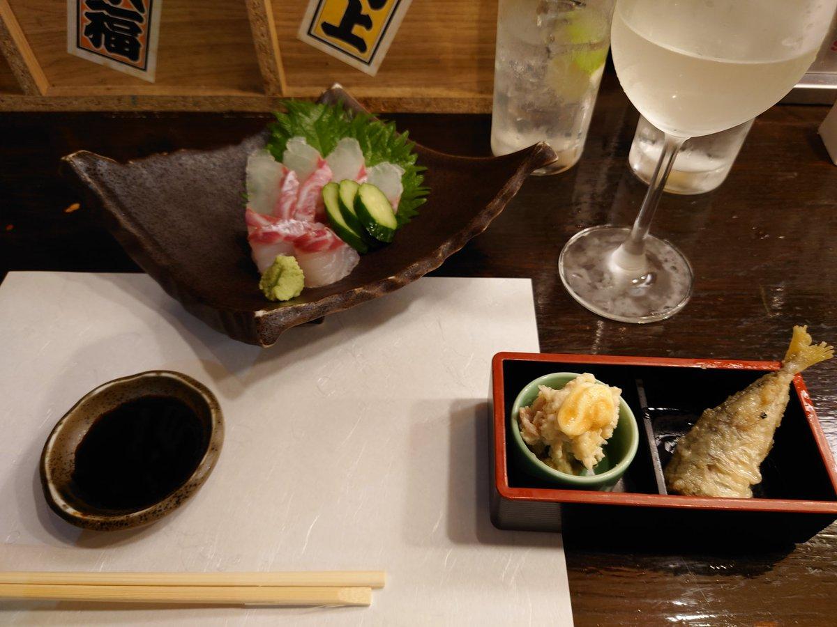 test ツイッターメディア - 鯛のお造り、アジ南蛮、ポテトサラダ、唐揚げ、欅(ジン)、十四代(日本酒)、鯛のおつゆ、鯛雑炊! 文字だけでも幸せ。一人飲みの極みと言っても過言ではありません。 すばらしい! #一人飲み #すぎのこ宇和島本店 https://t.co/DGUlnqmLok
