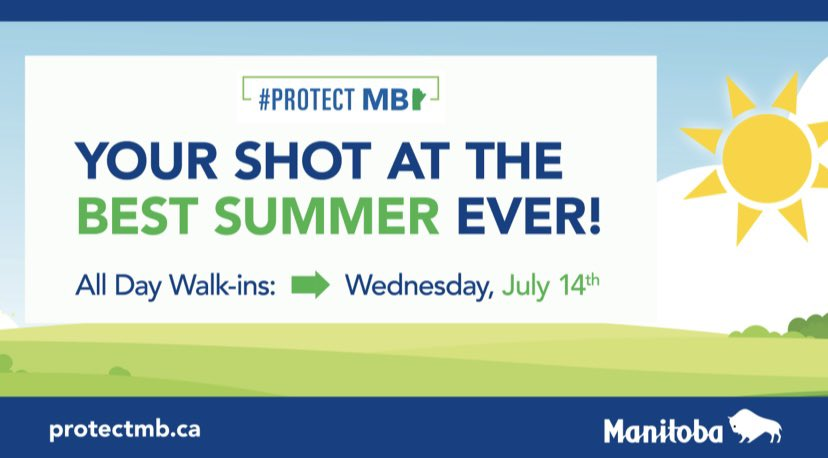 test Twitter Media - Beginning tomorrow, Wednesday July 14th, all vaccine supersites across the province will be open for Pfizer (12-17) & Moderna (18+) walk-ins. Whether you need your first or second dose, now is your shot at the best summer ever! Help #ProtectMB https://t.co/97xsRq9y1U
