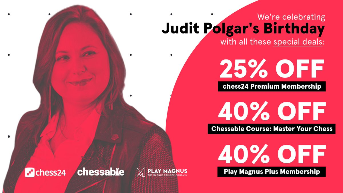 test Twitter Media - Don't miss out on these special deals, exclusively today! https://t.co/0VXS0mqLVx @chessable @PlayMagnus #JuditPolgar https://t.co/PDc9PPr1HS