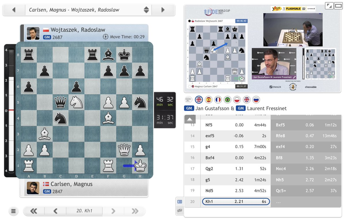 test Twitter Media - Wojtaszek has grabbed a pawn, but it looks insanely dangerous! https://t.co/XvrJnuobyI  #c24live #FIDEWorldCup https://t.co/uZDacOhEDT