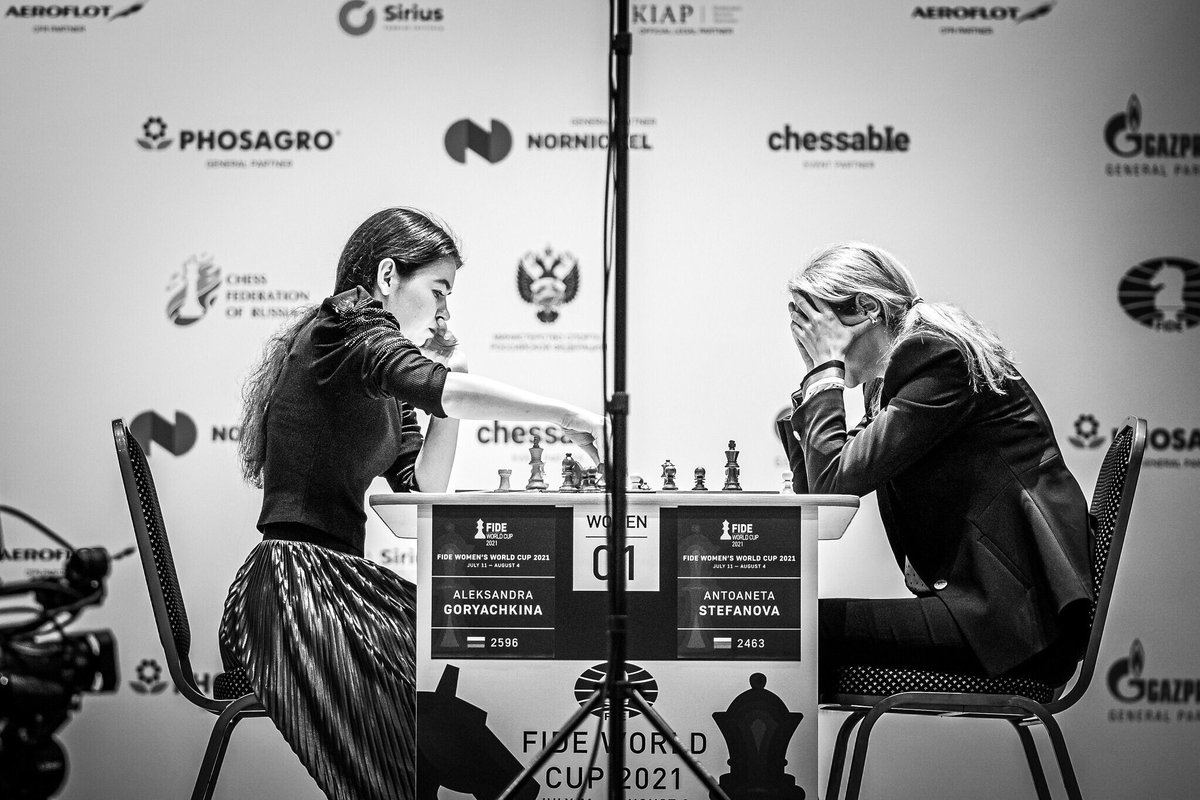 test Twitter Media - 🇷🇺Goryachkina leads her match against 🇧🇬Stefanova after her win in the first game of the tiebreaks. #FIDEWorldCup https://t.co/FsMO8gFvdH
