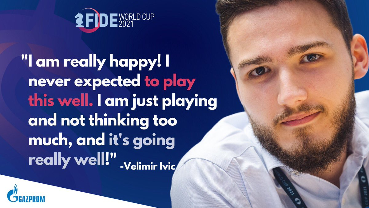 test Twitter Media - Serbian Grandmaster Velimir Ivic, the last player under 2600 standing, made it to Round 5 by eliminating Andreikin (2724), Bluebaum (2669), Vallejo Pons (2710) and Hungaski (2514). Tomorrow he will face Fedoseev (2696). Watch his post-game interview: https://t.co/HGciI8isvY https://t.co/QOwD172o1H
