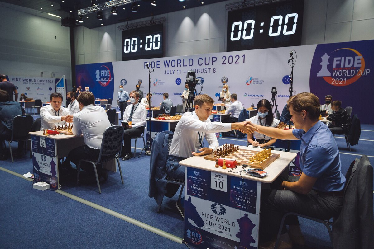 test Twitter Media - 16 players standing in the #FIDEWorldCup. These are the matches of Round 5: 🇳🇴Carlsen – 🇷🇺Esipenko 🇫🇷Bacrot – 🇵🇱Piorun 🇷🇺Grischuk – 🇵🇱Duda 🇮🇳Vidit – 🇦🇿Durarbayli 🇷🇺Fedoseev – 🇷🇸Ivic 🇮🇷Tabatabaei – 🇦🇲Martirosyan 🇫🇷Vachier-Lagrave – 🇷🇺Karjakin 🇷🇺Svidler – 🇺🇸Shankland https://t.co/iMVmBt0JKc