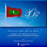 Warm greetings and best wishes of the 56th Independence Day of Maldives. https://t.co/MmB8BNoeZS