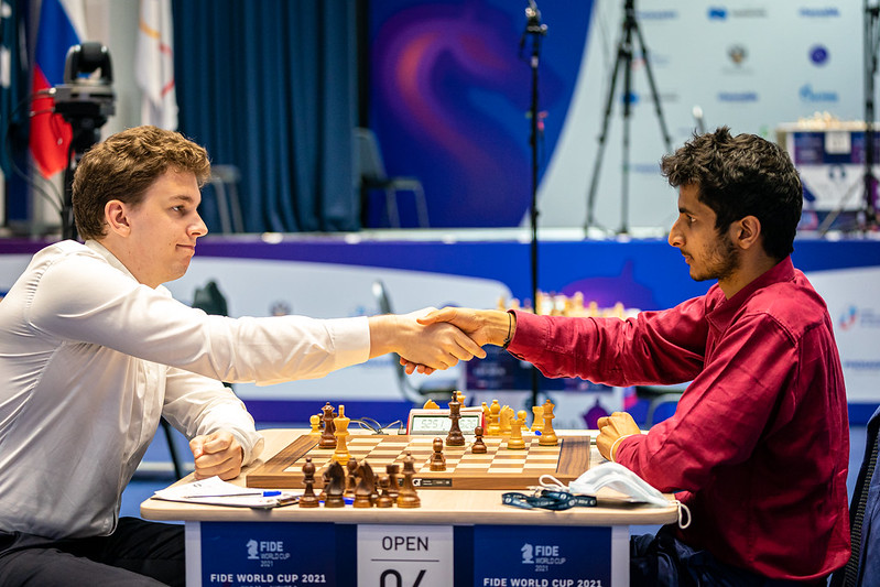 """test Twitter Media - 4 wins for White, """"the game of my lifetime"""" for Duda to set up a Duda-Carlsen semi-final, a brilliant comeback from Karjakin & late drama & controversy as Fedoseev beat Tabatabaei! What a day at the #FIDEWorldCup:  https://t.co/5U6HN9Ilm0  #c24live https://t.co/zv6aWgphB6"""
