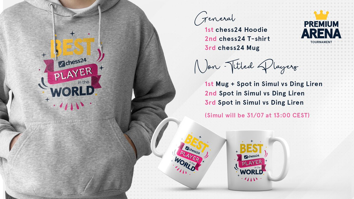 test Twitter Media - In just half an hour, the 1st Premium Arena Tournament begins. Not only do you have the chance to play GM Leinier Dominguez (@chessleinier) and GM Simon Williams aka @ginger_gm, but you can also win these incredible prizes! Play: https://t.co/wF5A5zi2hw https://t.co/KMLCBc7QSA