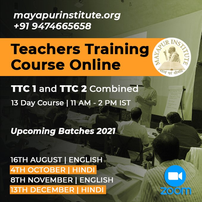 TEACHERS TRAINING COURSE - ONLINETTC1 & TTC2 CombinedUpcoming Batches - 202116th August   EN....
