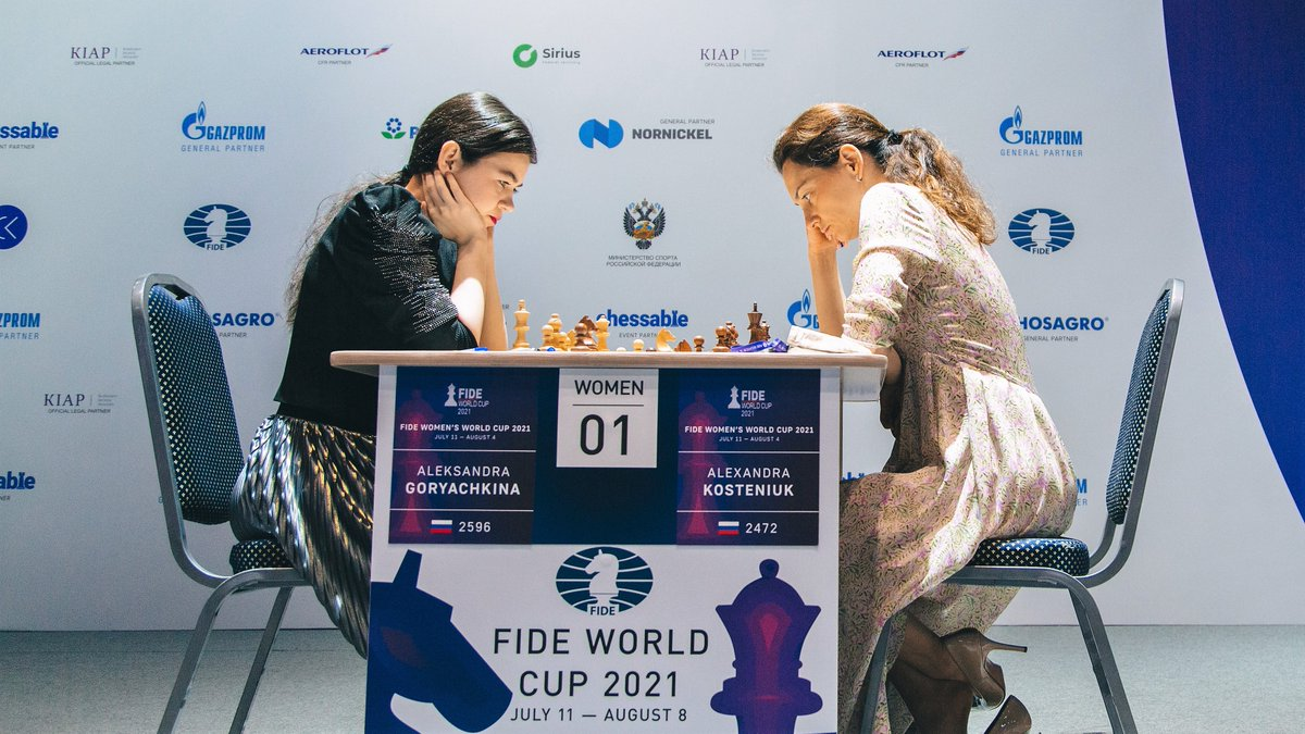 test Twitter Media - Alexandra Kosteniuk wins the first game of the final against Aleksandra Goryachkina with Black, putting the world's #2 female player in a must-win situation tomorrow. #FIDEWorldCup https://t.co/3wb4HZaupA