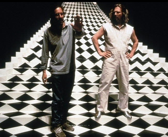 Joel Coen and Jeff Bridges on THE BIG LEBOWSKI set ???? https://t.co/qmFl1sG4oG