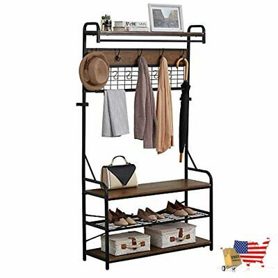 Coat Hat Hall Tree With Storage Bench Coat Rack Stand With 11 Hooks Shoe...