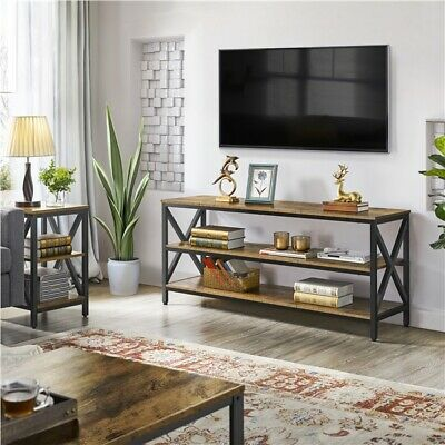 Industrial TV Stand with Shelves Lengthened TV Cabinet Console Table...