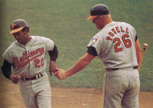 Boog Powell congratulating Frank Robinson after a home run, 1969. https://t.co/eObNxD14yE