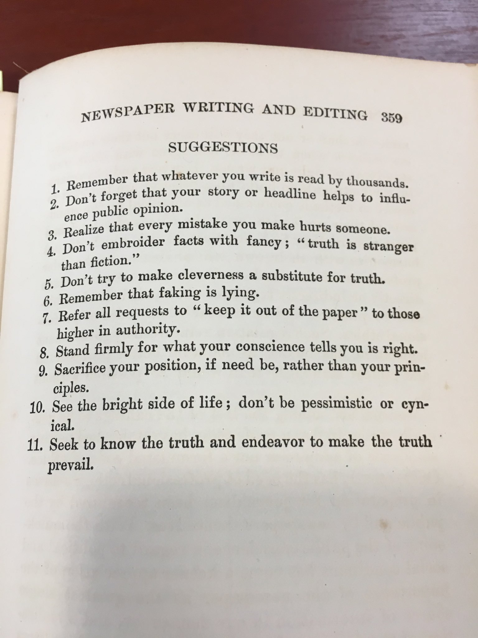 Not sure I have seen a better list of journalism standards and practices. More remarkable, it was published in 1913 by Willard Bleyer, the final words of his college textbook. He was chair at Wisconsin. This is where craft meets mission and purpose. 1913! https://t.co/L3vBOwk9aX