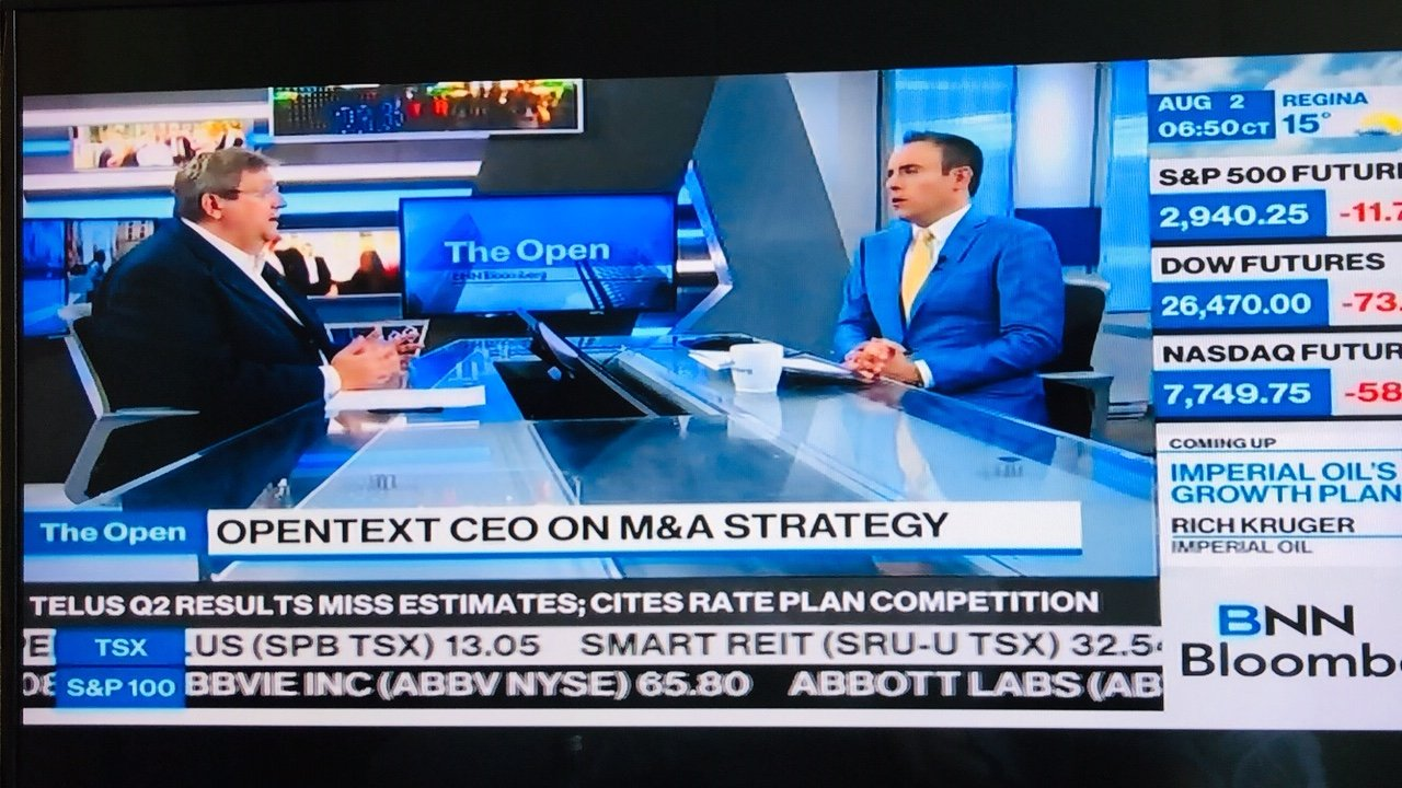 Thank you @BNNBloomberg @JonErlichman . Great to be together this morning talking about #cloud @Canada @OpenText https://t.co/XVZHT1clFL