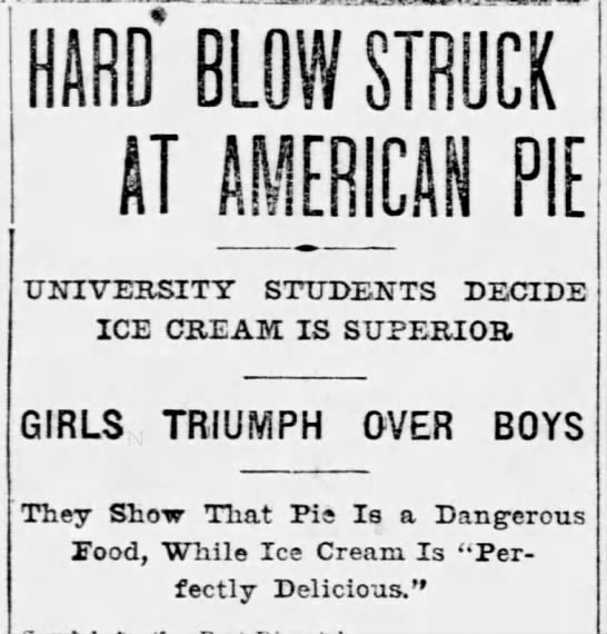Today is #NationalIceCreamDay.  Take THAT, #NationalPieDay.  (St. Louis Post Dispatch 1902, via @_newspapers) https://t.co/099WOhqO8V