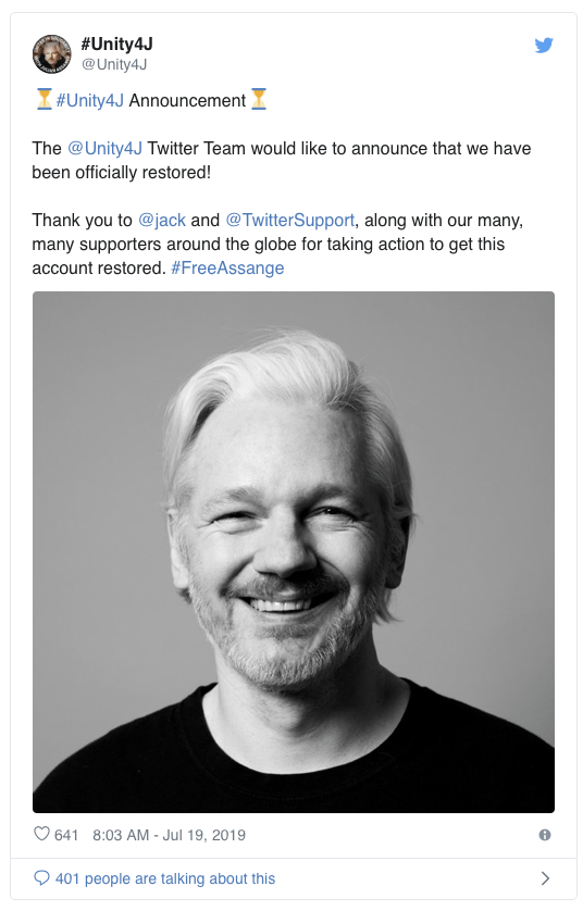 Twitter restores Assange activism account in response tobacklash https://t.co/ih5nGfPYin https://t.co/0LQT1VFtpb
