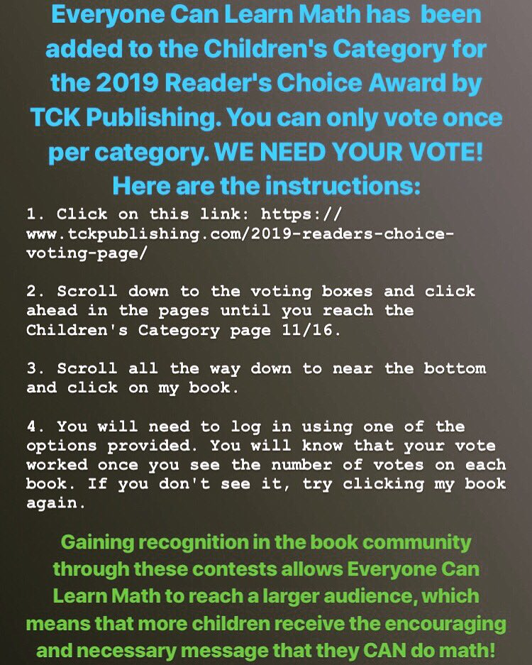 test Twitter Media - Everyone Can Learn Math has been added to the list of nominees for the 2019 Reader's Choice Awards contest by TCK Publishing. This is a voting contest. WE NEED YOUR HELP! Link: https://t.co/x7goBckMTk PLEASE FEEL FREE TO SHARE! Your loyalty means so much to us. https://t.co/0BPjJzlmRy