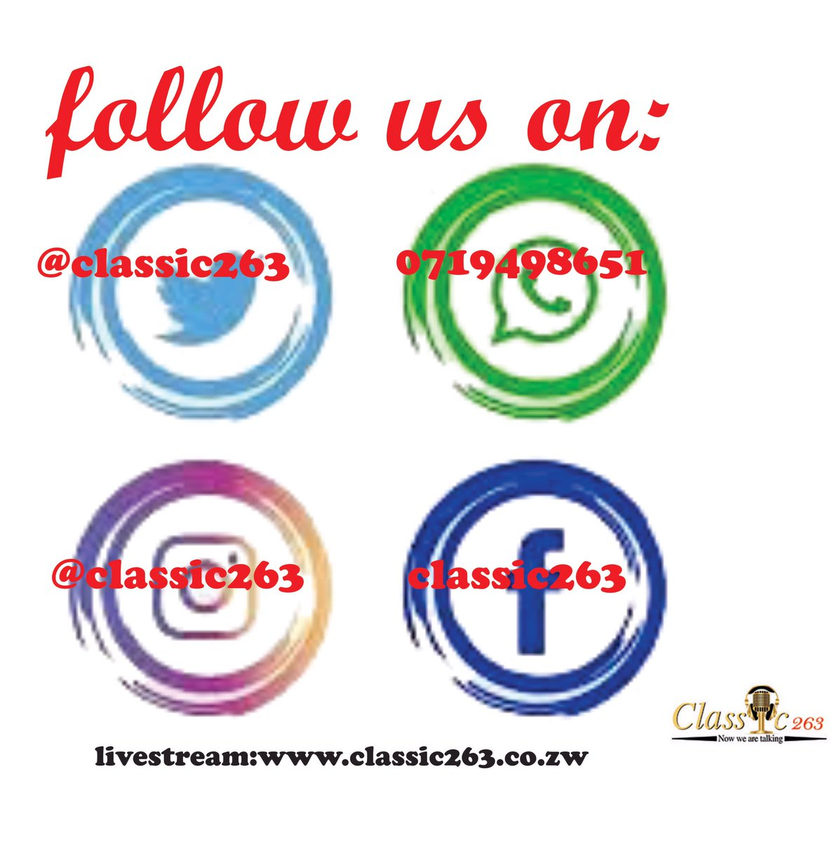 test Twitter Media - Are you on Twitter, Instagram & Facebook❓ So are we ! @classic263 Hangout with us for current affairs, news and regular updates about our shows and your favorite presenters... Livestream on https://t.co/BNGfdqGRka @powerfmzimbabwe @ZBCNewsonline @centralradio958 @InfoMinZW https://t.co/8u2mR8wCeI