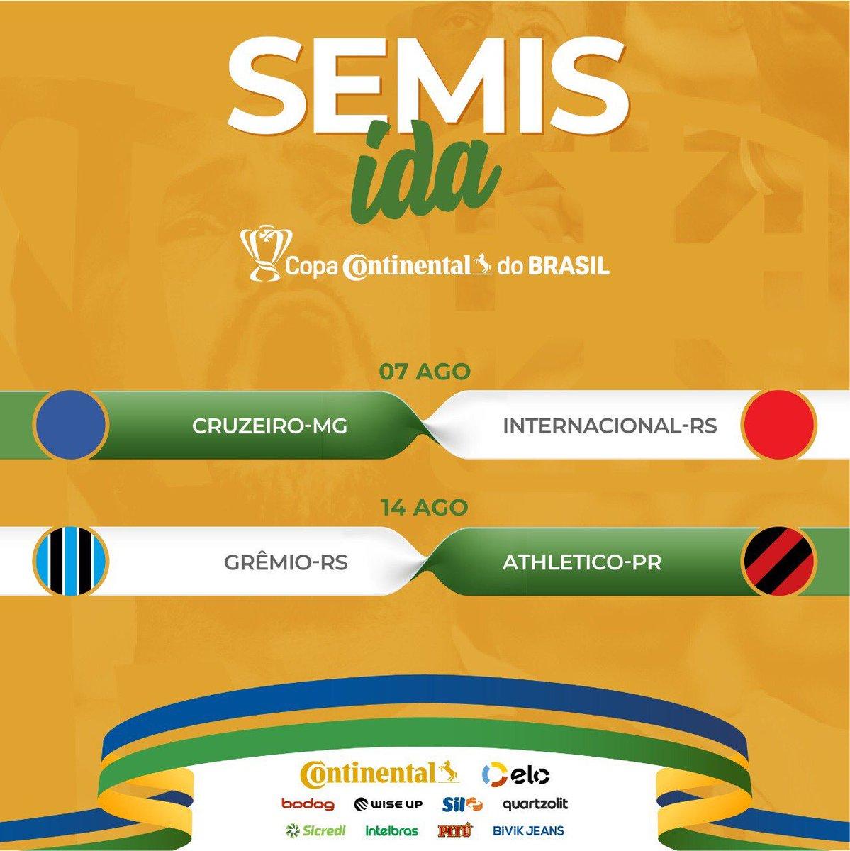 OFFICIAL:  The 2019 Copa Do Brasil semi finals  - Cruzeiro vs Internacional  - Grêmio vs Athletico-PR https://t.co/f1HAijvruH