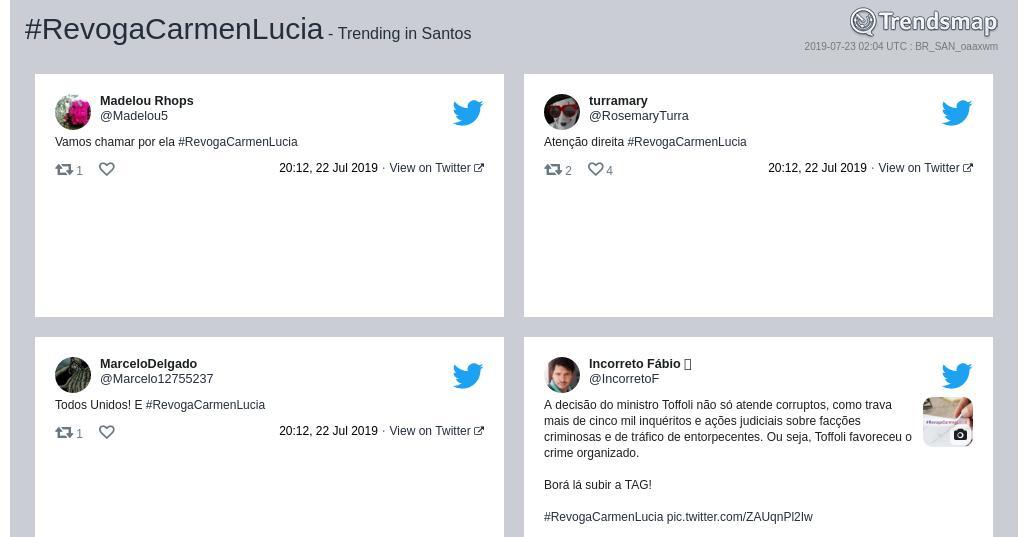 RT @TrendsSantos: #revogacarmenlucia é tendência em #Santos  https://t.co/uhYH4oDoai https://t.co/5yE9k1zEjh