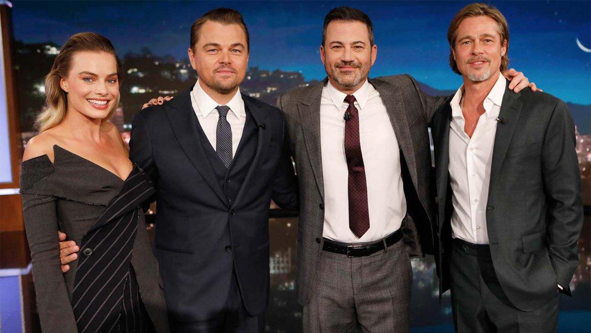 Leonardo DiCaprio, Margot Robbie and Brad Pitt crash Jimmy Kimmel's opening monologue