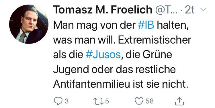 """RT @georgrestle: Was der """"Büroleiter"""" von AfD-Chef #Meuthen zur rechtsextremistischen #IB twittert. https://t.co/qfyWLvUmYk"""